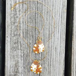 Vintage MEOW orange enamel necklace bracelet SET